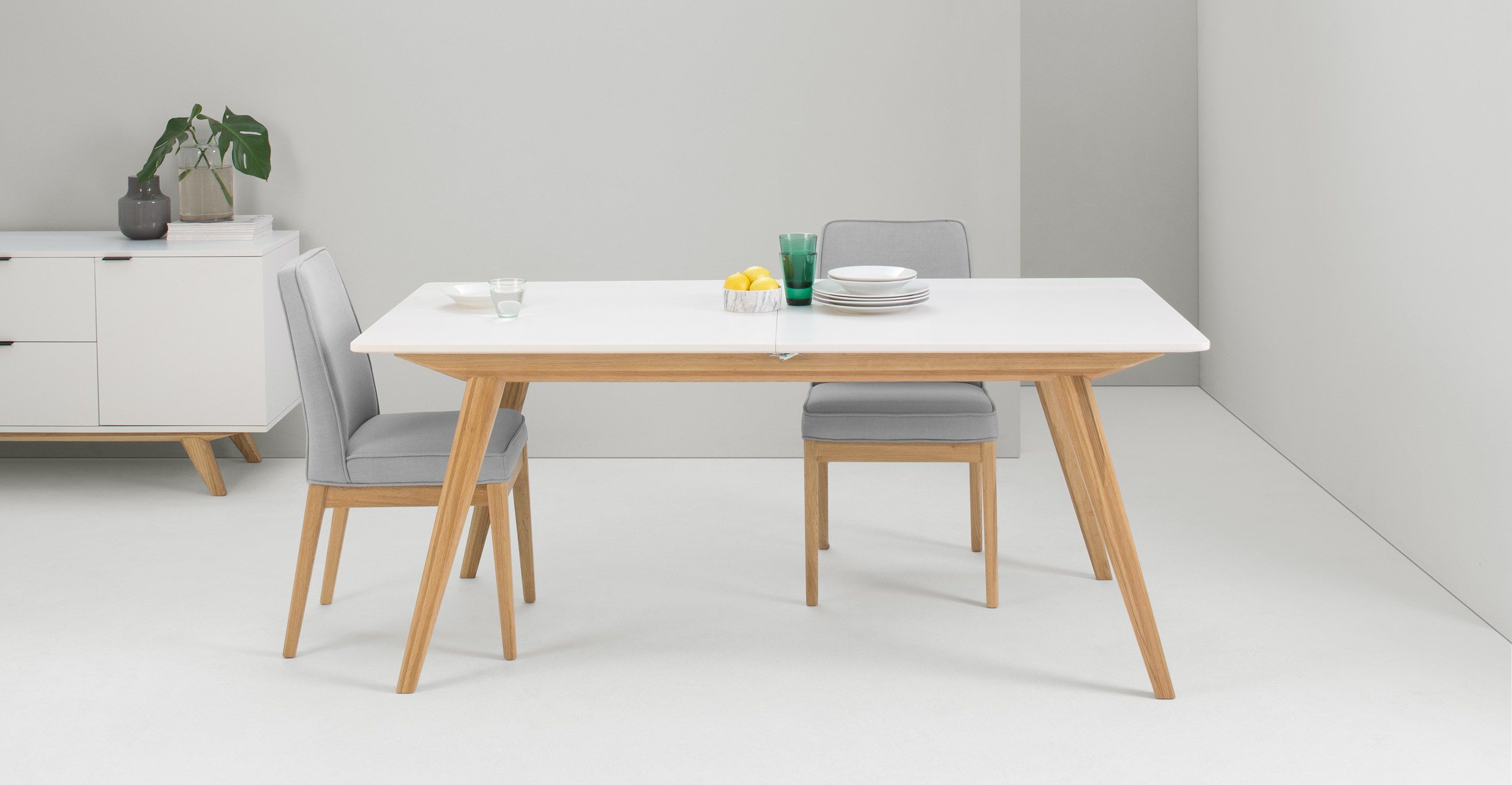 Made Natural Oak White Dining Table White Extending Dining
