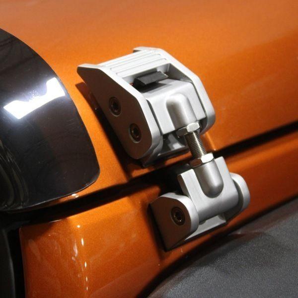 Hood Latch Locking Catch Pair for Jeep Wrangler Black Aluminum Rugged Ridge