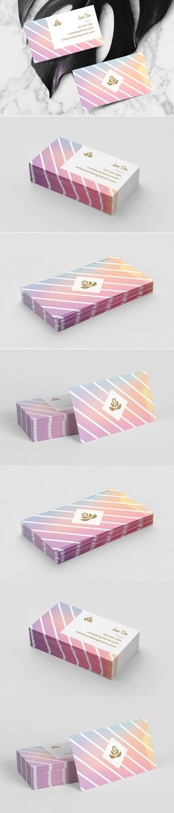 Feminine business card template | Holographic background, Card ...