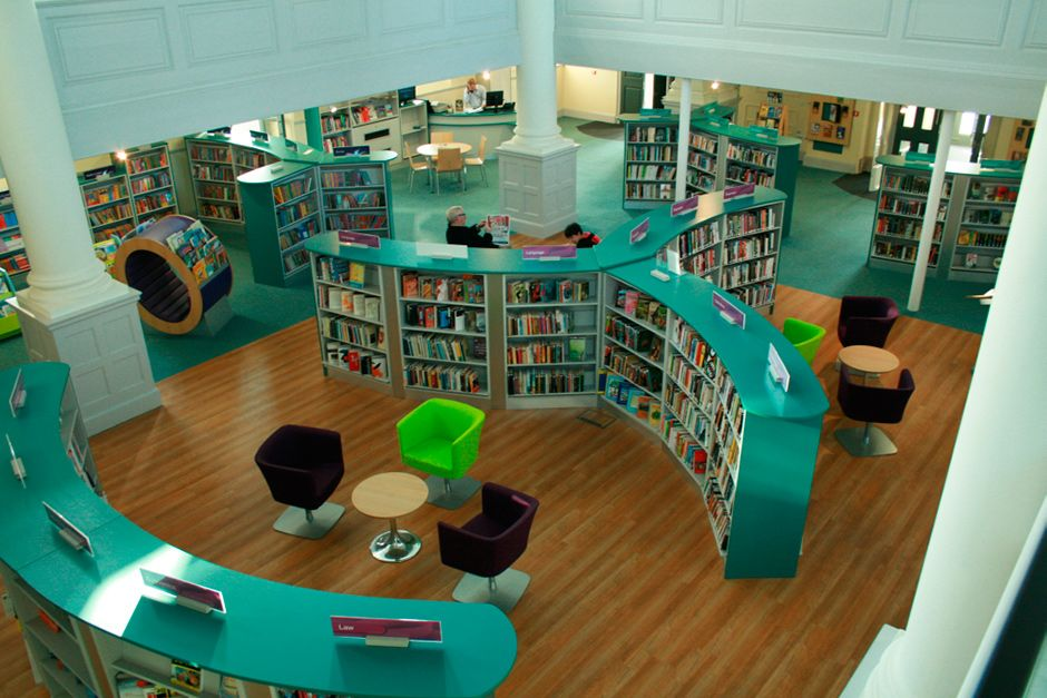 Interior Design St Aubyn& S Library Church Library Design Bright ...