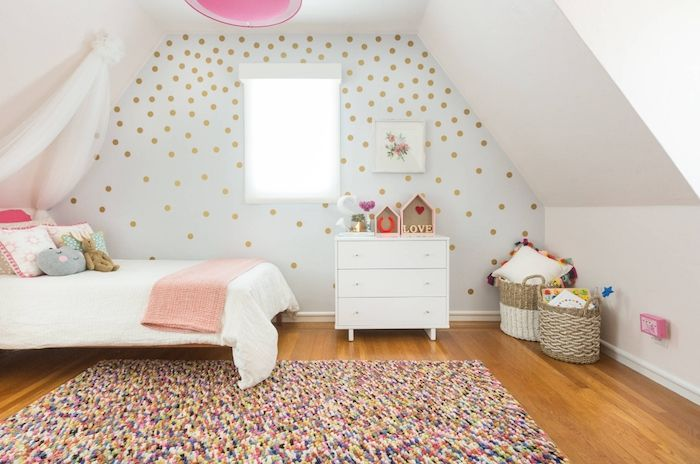 Erstaunlich Jugendzimmer Set Bunte Teppichgestaltung Traumteppich Fröhliche Laune Im  Kinderzimmer Golden Gepunktete Wand Ideen Mädchenhaft