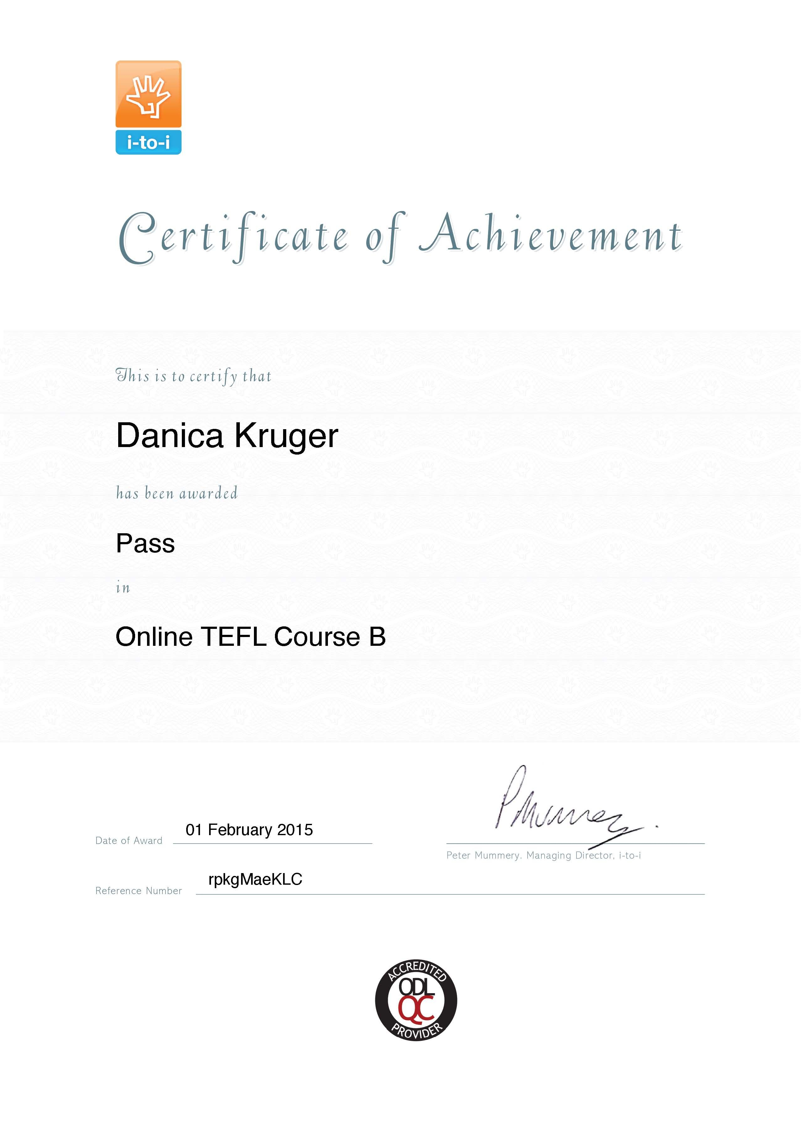 tefl certificate certification achievement kruger