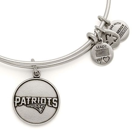 Alex and Ani New England Patriots Logo Expandable Wire Bangle Russian Silver