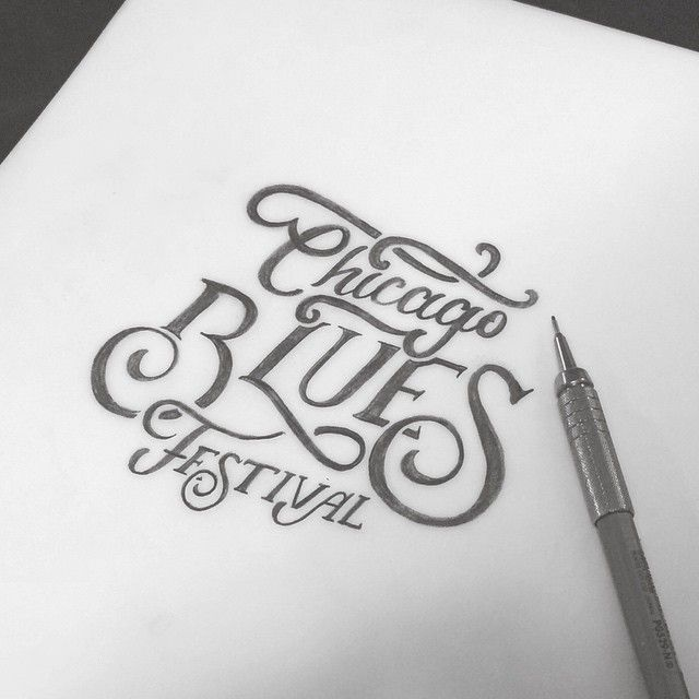 Finally had a night off from working on other peoples projects so I decided to do some work on a little side project of my own #wip #type #goodtype #blues #chicago #festival #handdrawntype