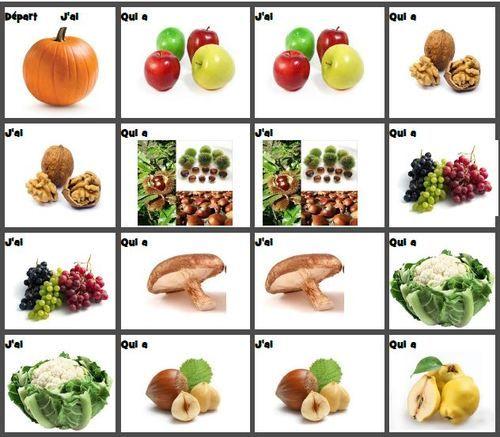 J'ai....qui a ? sur les fruits et légumes d'automne ...