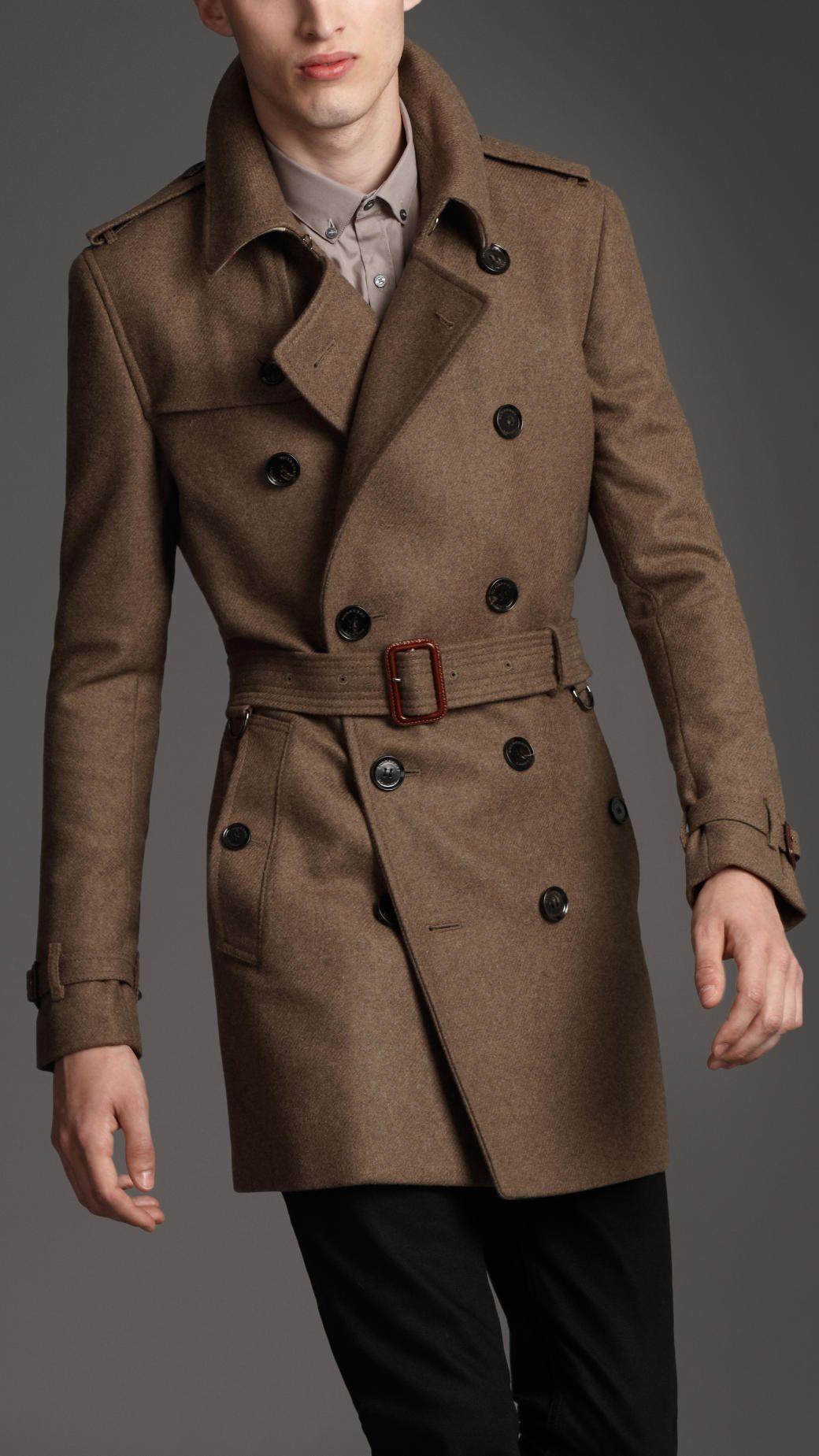 Burberry London mens textured wool trench coat 1 | Мужское пальто ...
