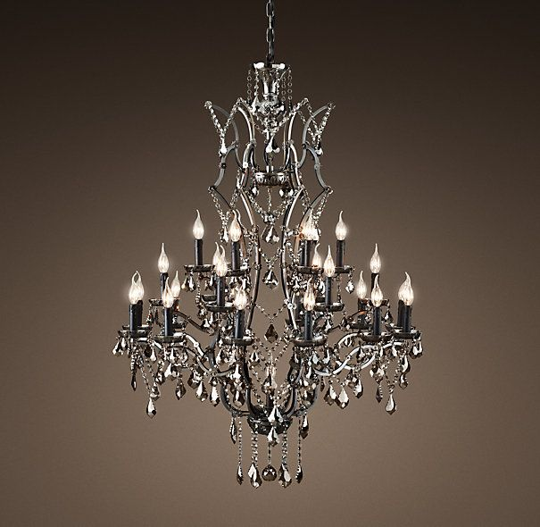 19th C Rococo Iron Crystal Chandelier Extra Large Smoke