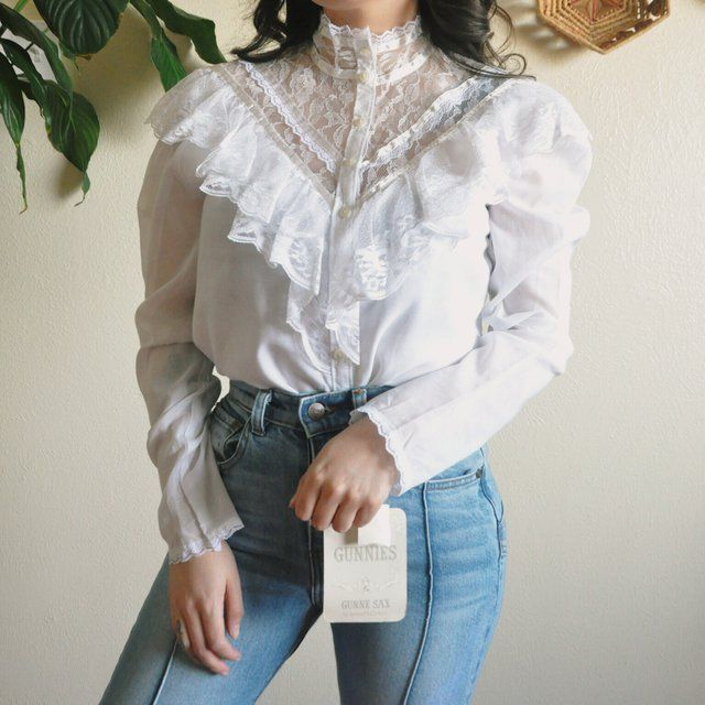 58f7001302a050 Vintage 70s Victorian Gunne Sax button up blouse 💕 amazing deadstock  (still has tags) blouse with lace & a mesh neck! This gunnie still has the  tags on & I ...