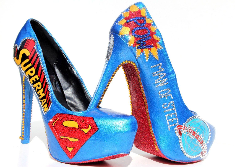 Superman Heels With Swarovski Crystals Red Glitter Shoes Heels