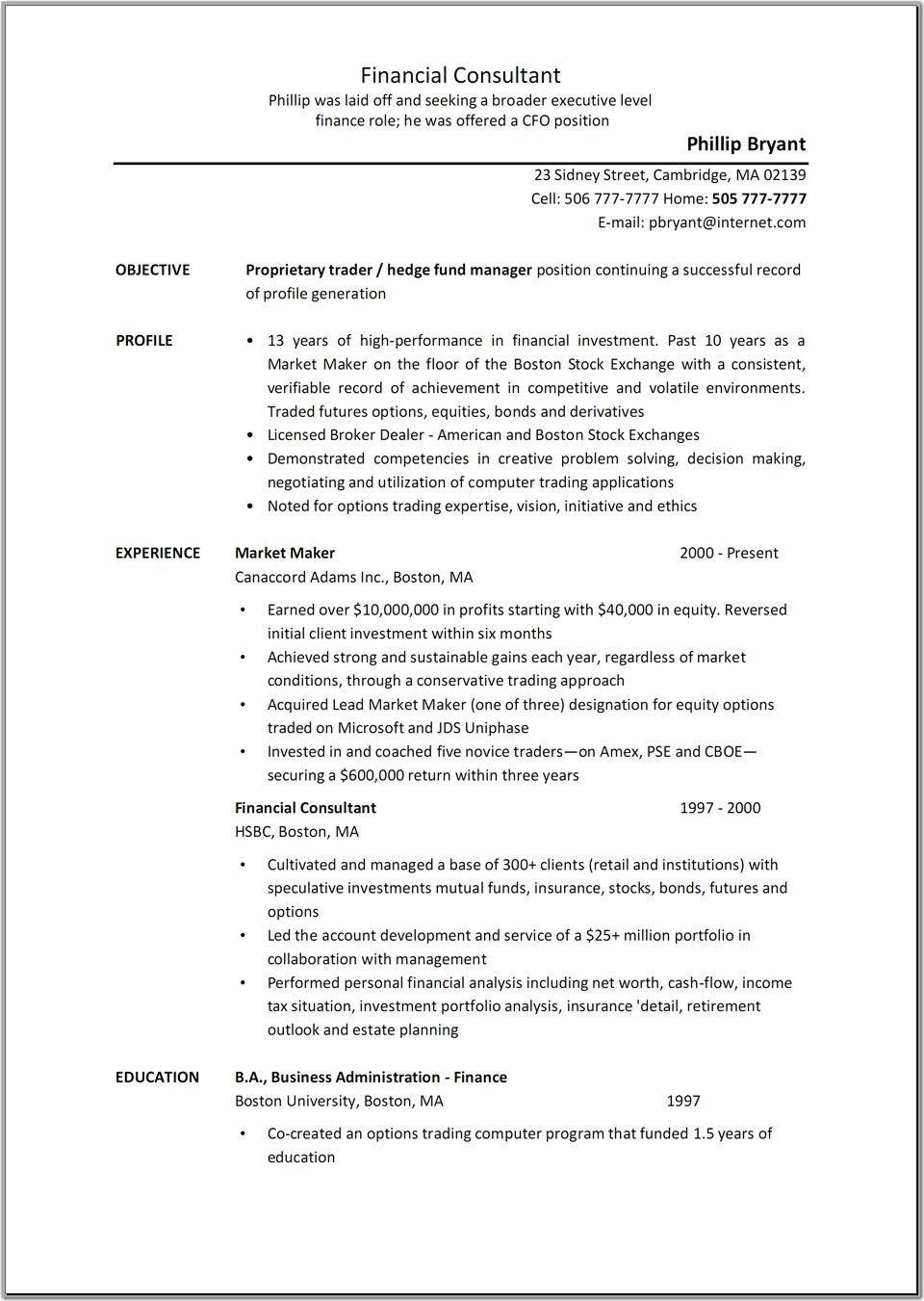 Example Of A Resume For A Job Business Consultant Job Description Resume  Sample Resume Center