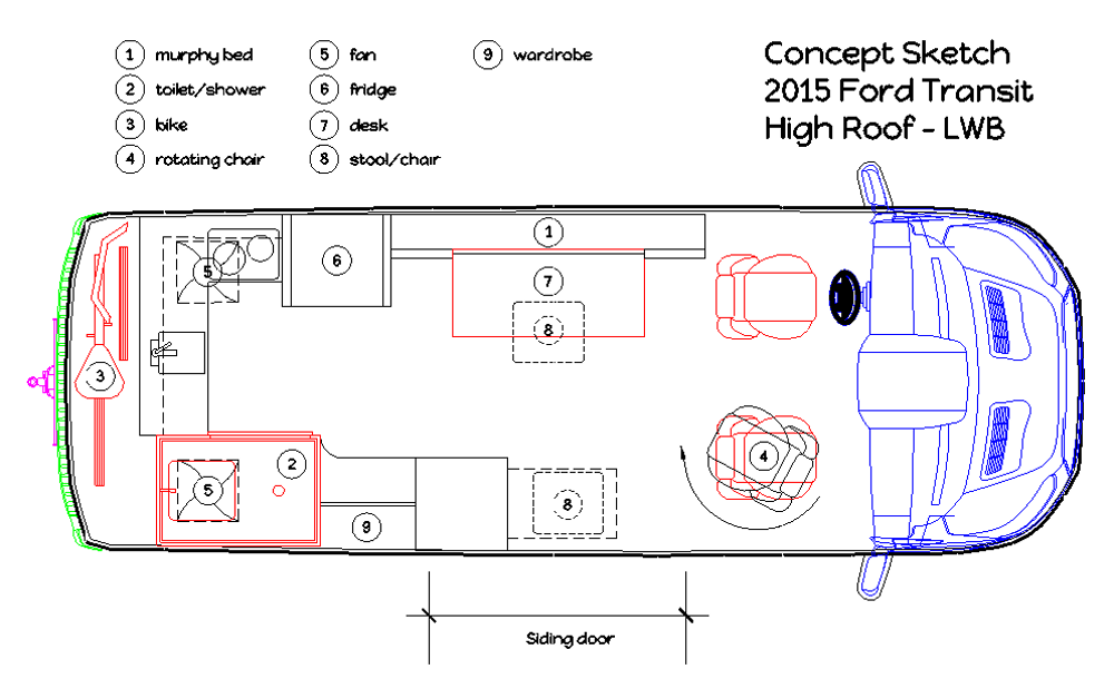 The Actual Layout Plans For A Luxury Cargo Van Conversion Project An Affordable DIY Modification Of Standard Into Class B RV