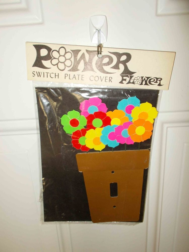 Vintage Paul Marshall Products Power Flower Switch Plate Cover New Old Stock
