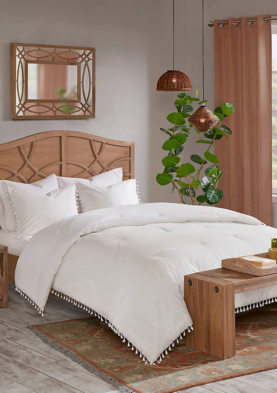 Lillian 3 Piece Cotton Comforter Set Off White White Comforter Bedroom Comforter Sets Luxury Bedding Sets