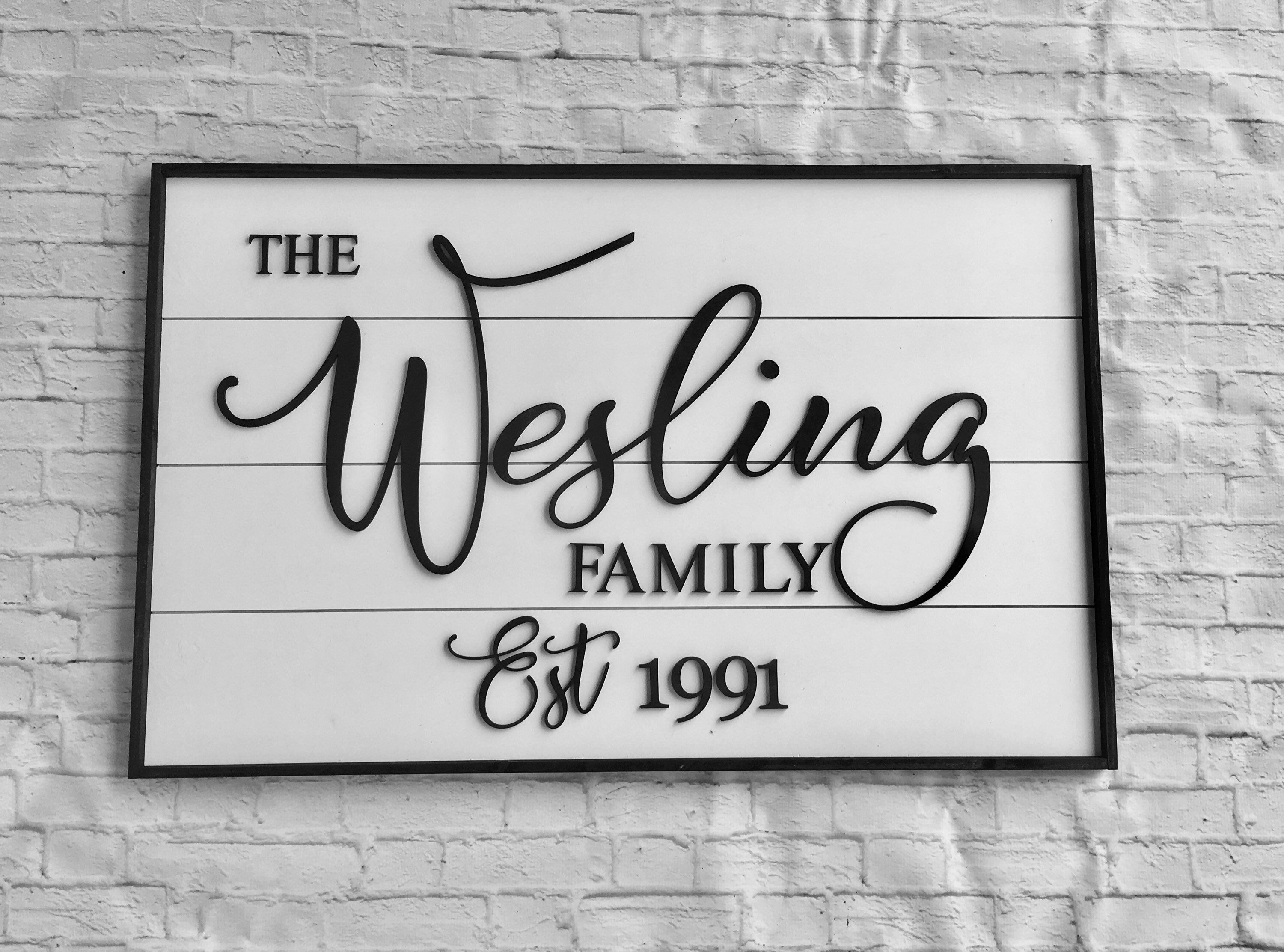 family name framed sign - personalized wood cutout sign - farmhouse ...