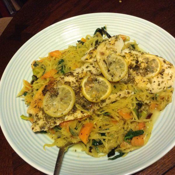 Decadent Seasonal Feast: Cod on Spaghetti(Squash) with Lemon Butter