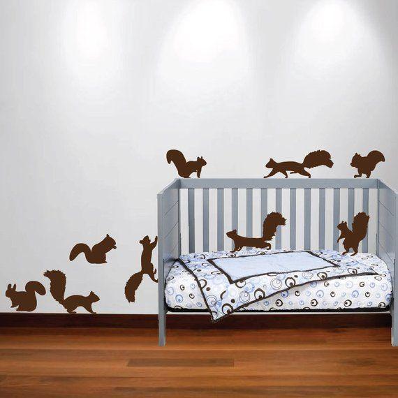 Squirrel Chipmunk Wall Decal Nursery Sticker Set Forest Animals For Tree Birch Woods 1250