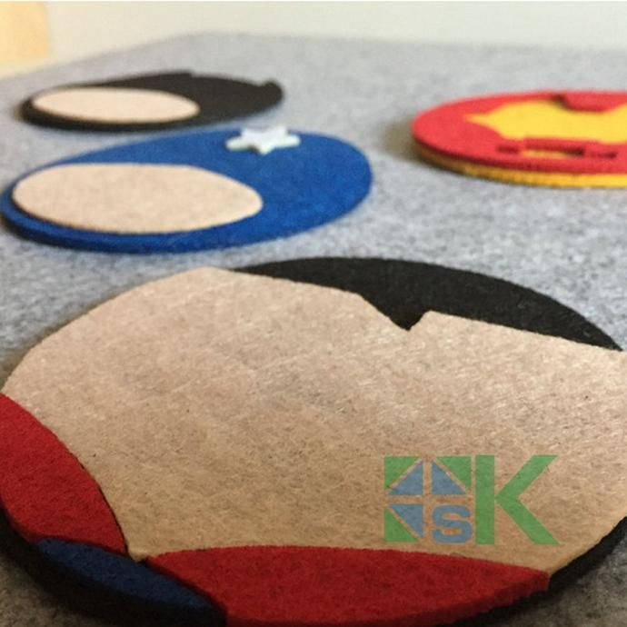 10 Pcs /Set Home Table Cup Mat Creative Decor Coffee Drink Placemat For Table Double-layer Non-woven Cartoon Superhero Coaster - Clearlygeek