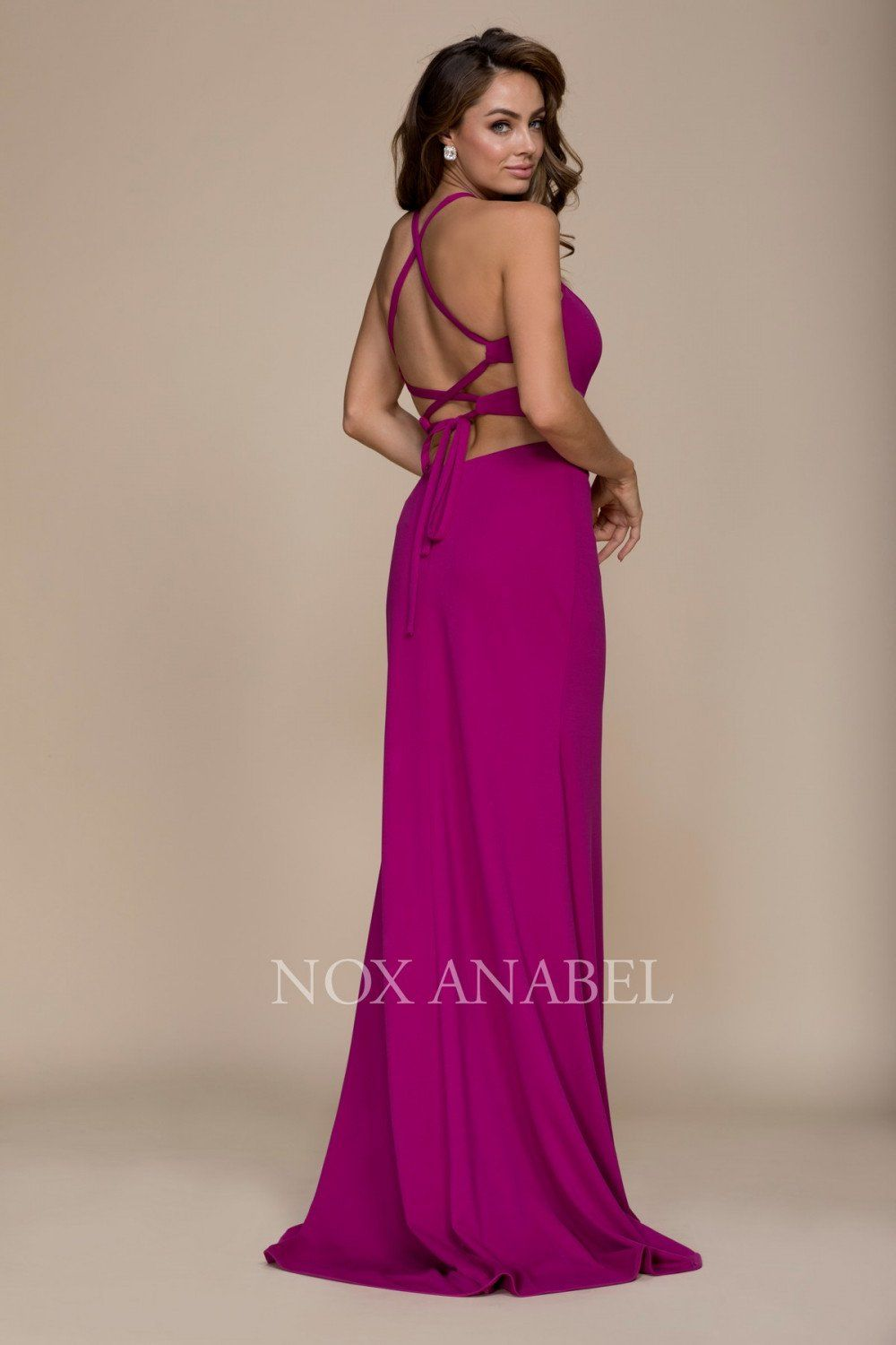 527decfed3c36 Long Open Back Cutout Prom Dress Evening Gown - The Dress Outlet Nox Anabel