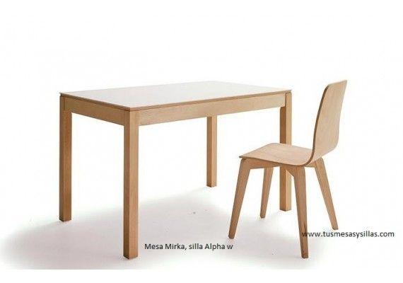 Mesa cocina comedor extensible mirka en madera y encimera for Oferta mesa comedor extensible y sillas
