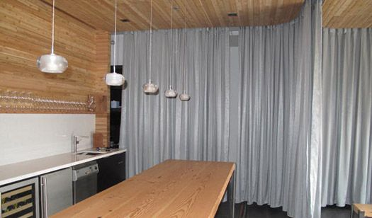 Canvas Curtains with Overhead Tracks | Ceiling Mounted Curtain Track System  - theflextrack.com or