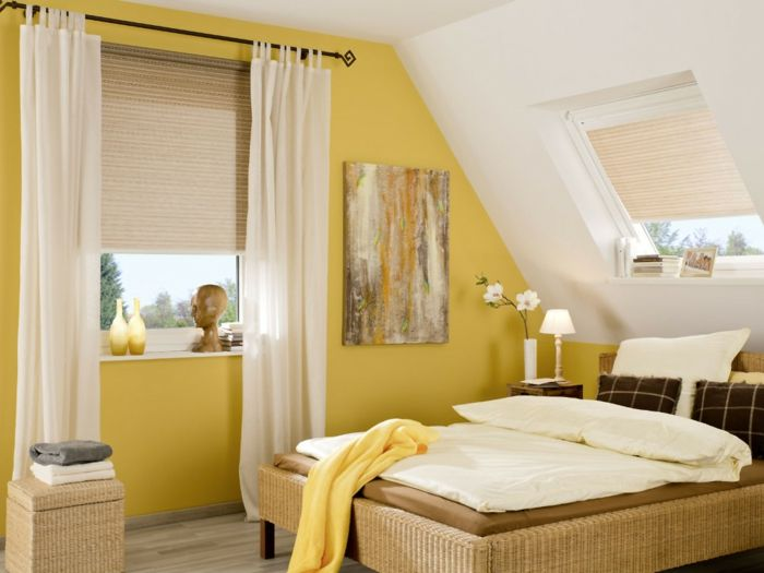 bedroom curtains, bedroom with yellow and white walls, bed in warm ...