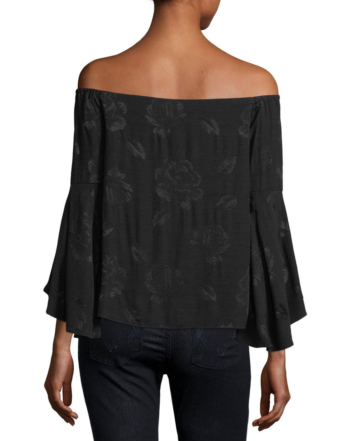 f8805900bd2906 Alice + Olivia Shera Off-the-Shoulder Trumpet-Sleeve Floral-Embroidered Top