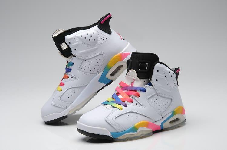 white rainbow jordans