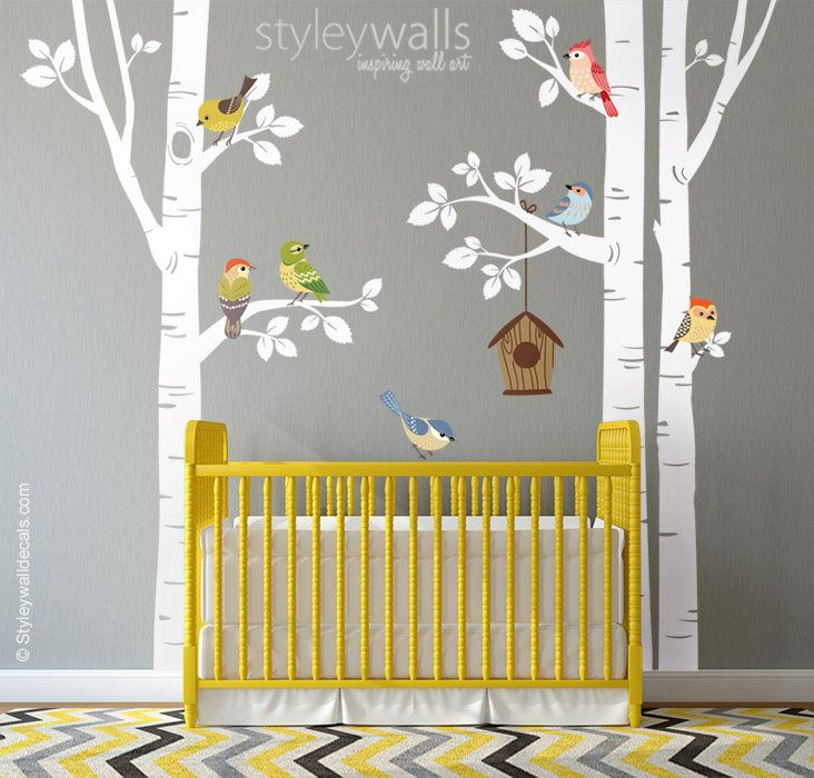 Birch Trees and Birds Wall Decal, Forest Trees Birds Wall Decal ...