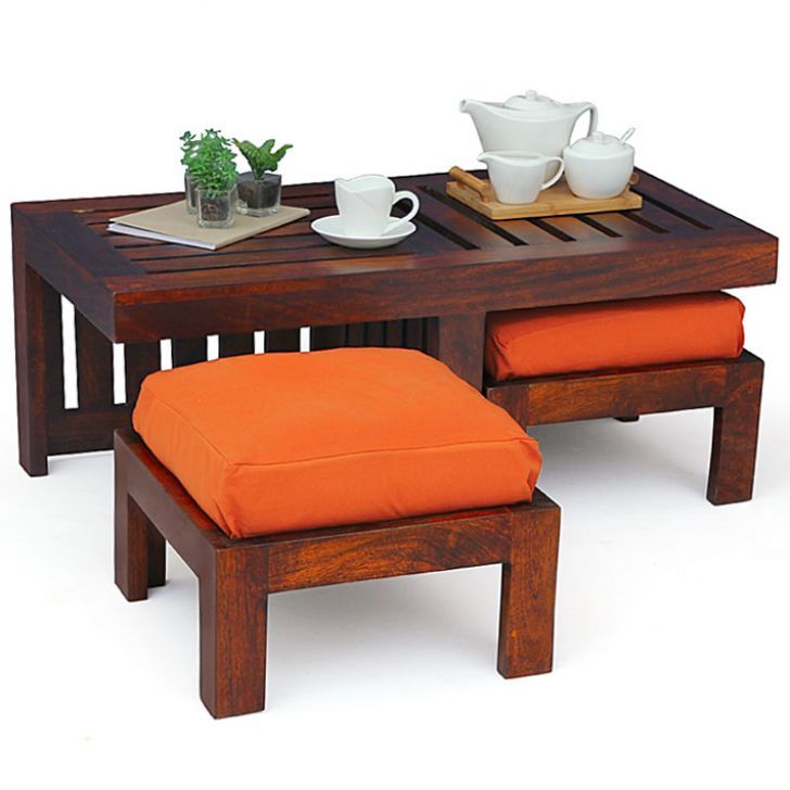 Living Room Table With Stools: Sculpture Of Coffee Table With Stools Invites More Friends