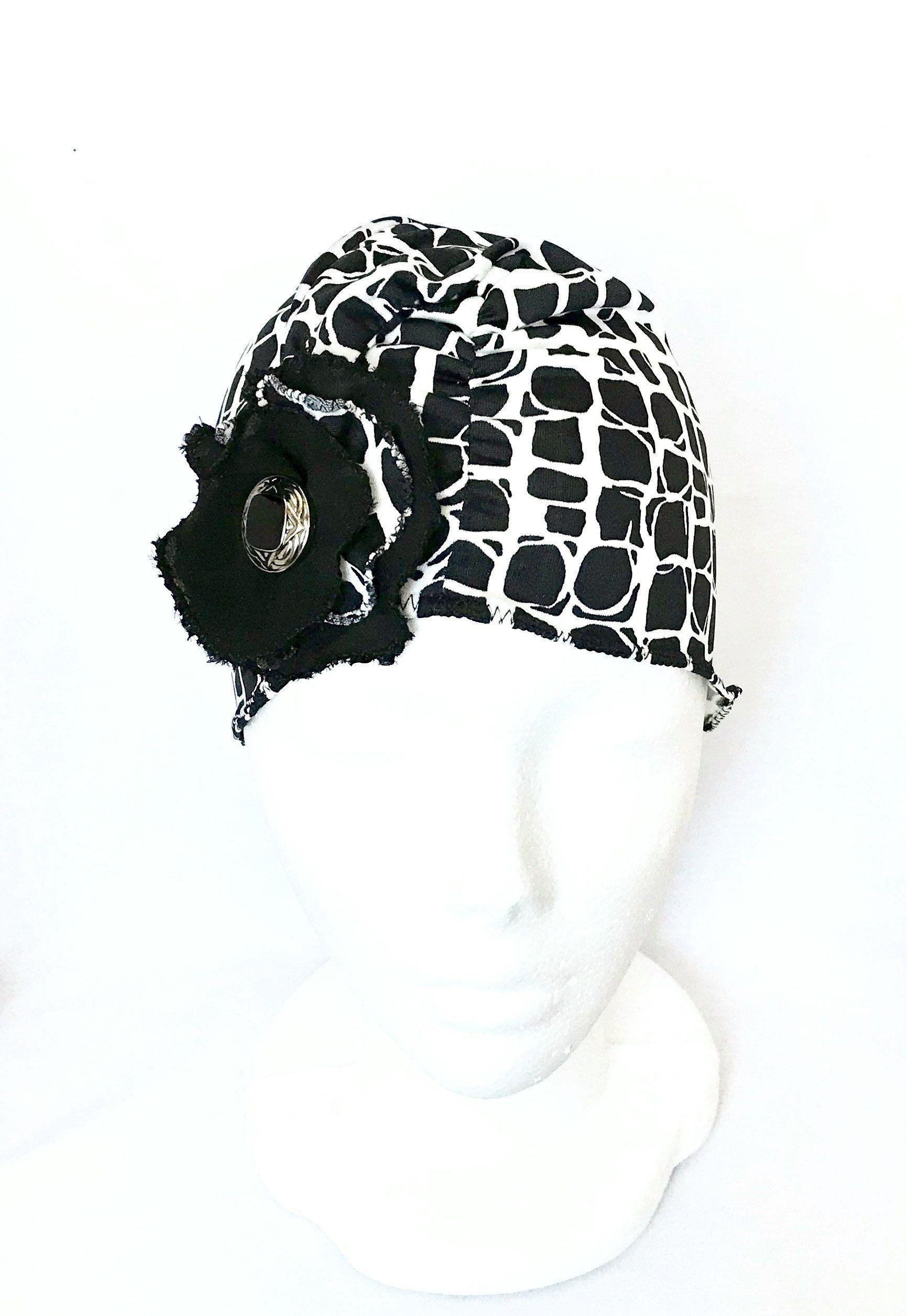 b100a7bcd35 Chapeau noir de chimio pour femmes