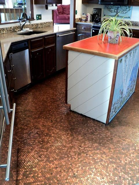 Pretty Purple Door Features Home Owner Advice And DIY Projects Like - Copper penny floor grout