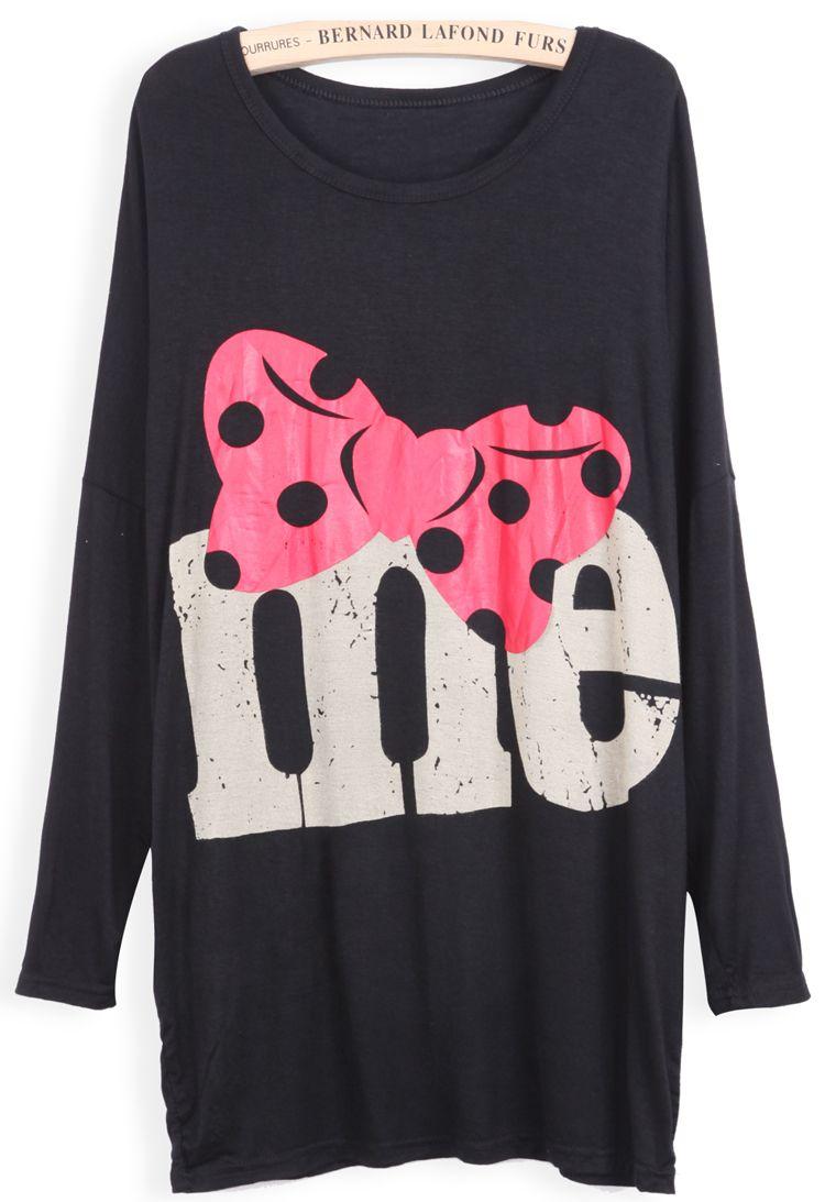 Black Long Sleeve Bow me Print Loose T-Shirt EUR€11.15