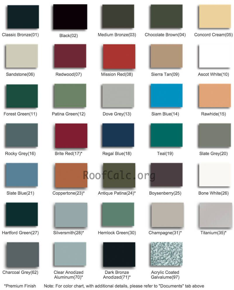 Standing seam metal roof colors metal roofing ideas and for What color roof should i get for my house