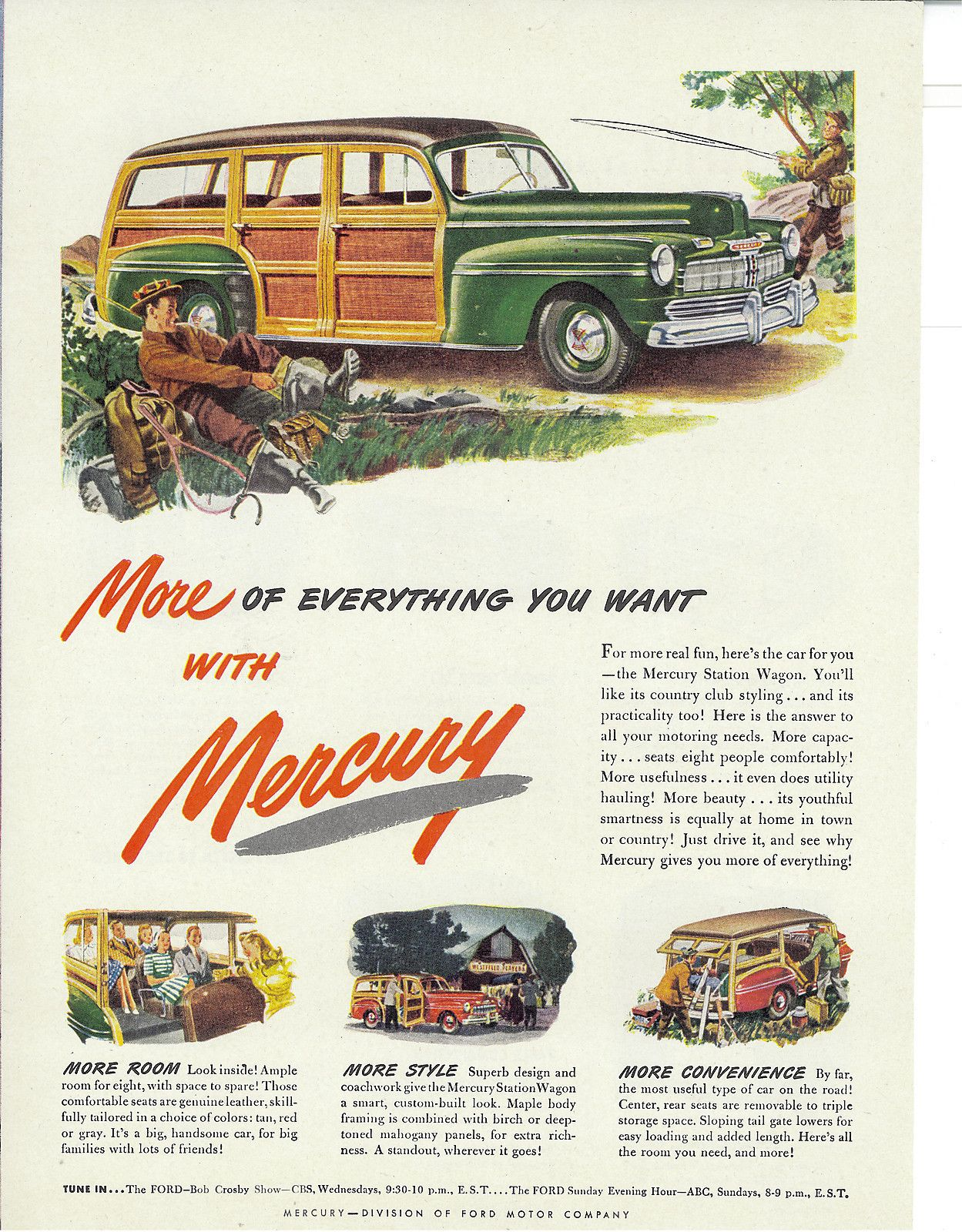 1946 Print Ad - The Mercury Station Wagon Car - \'More of Everything ...