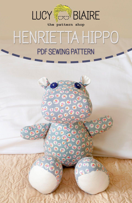 Henrietta Hippo Stuffed Animal Sewing Pattern by LucyBlaire, $8.00