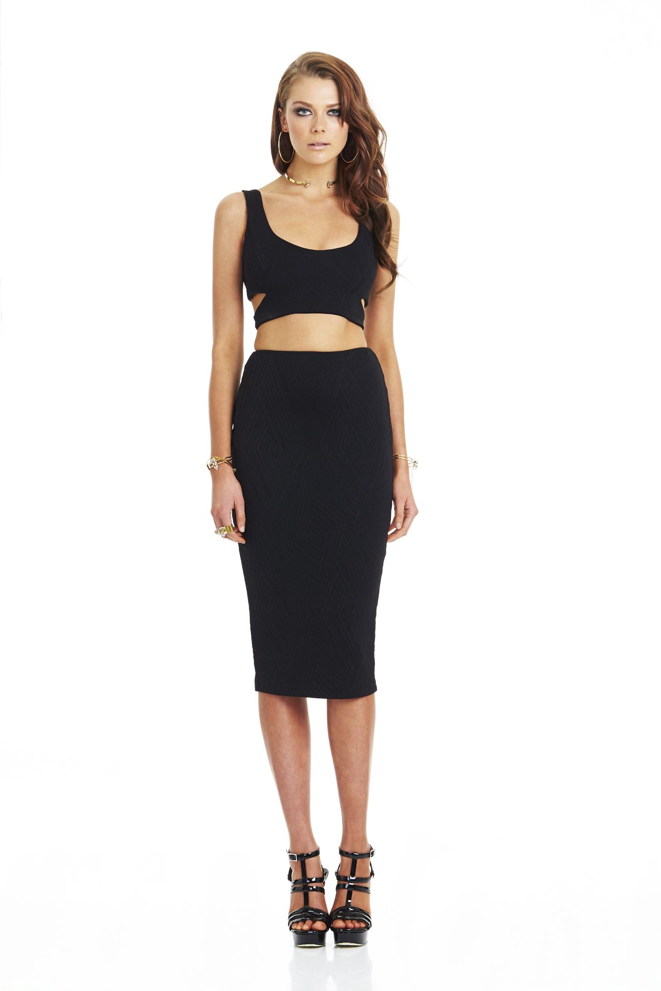 e69abd1930ed0b Uptown Girl Knit Crop Black & Uptown Knit Pencil Skirt Black #nookie ...