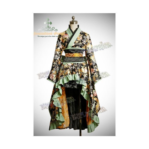 Gothic Wa Lolita Golden Chrysanthemum Brocade Kimono*5Pcs ❤ liked on Polyvore featuring dresses and lolita