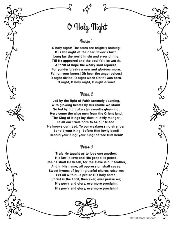 Free printable lyrics for O Holy Night. Download them at