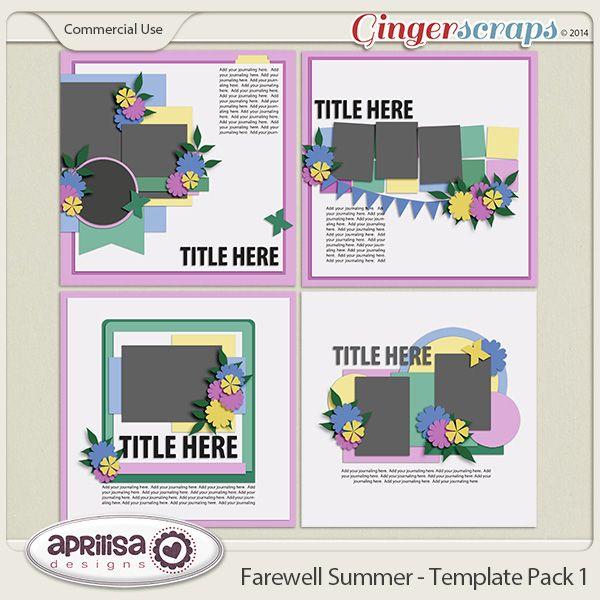 Farewell Summer Template Pack 1 Digital Scrapbooking Kits