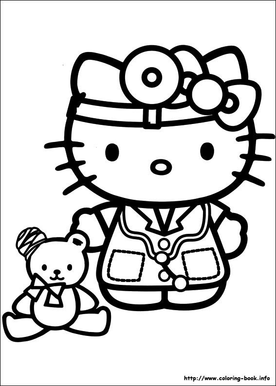 hello kitty doctor coloring pages - Kitty Doctor Coloring Pages