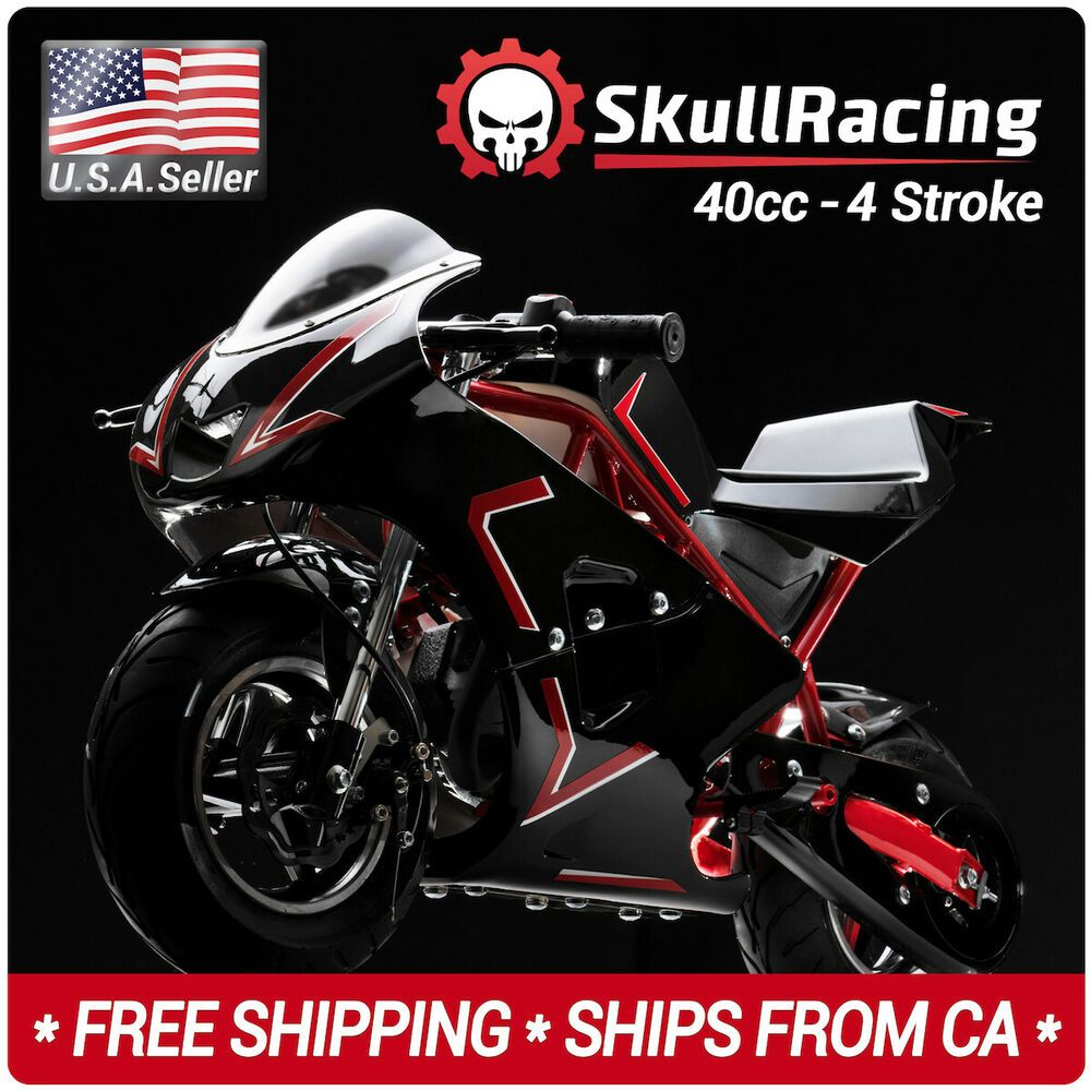 Skullracing Gas Powered Mini Pocket Bike Motorcycle 40rr Red