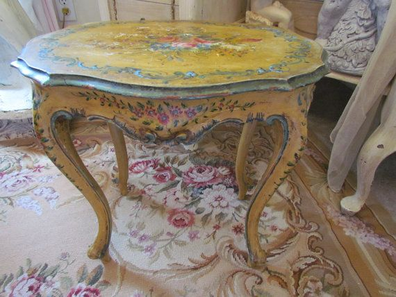 Antique Italian Hand Painted Rose Rococo Table Shabby Chippy