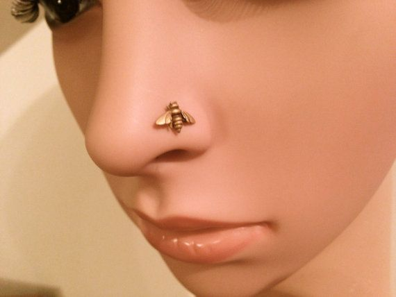 Bio-Plast Nose Screw Stud  with 14K Yellow Gold Ball Head Piercing Jewelry