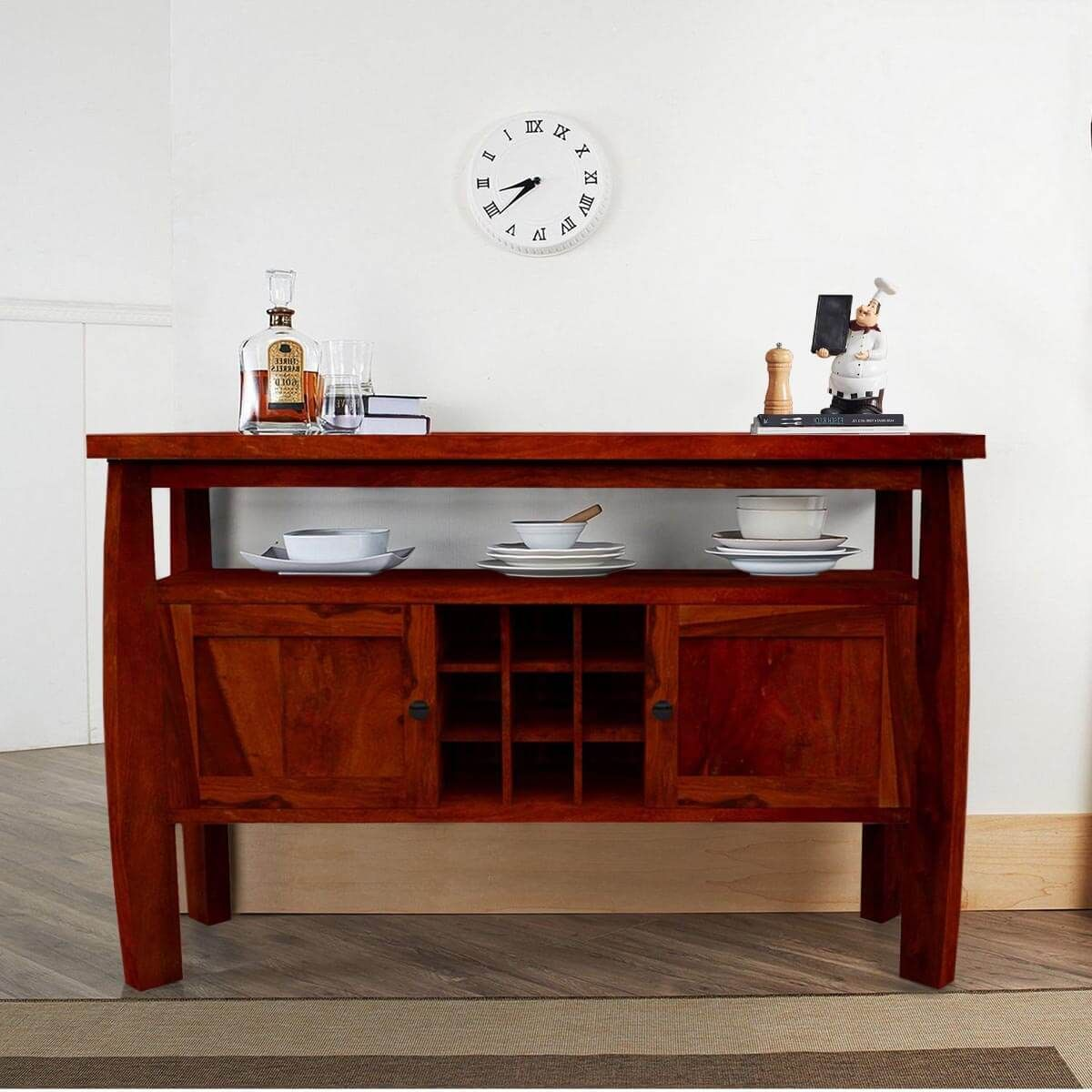 Contemporary Solid Wood Dining Room Bar Buffet Cabinet Solid Wood Dining Room Rustic Console Tables Rustic Consoles