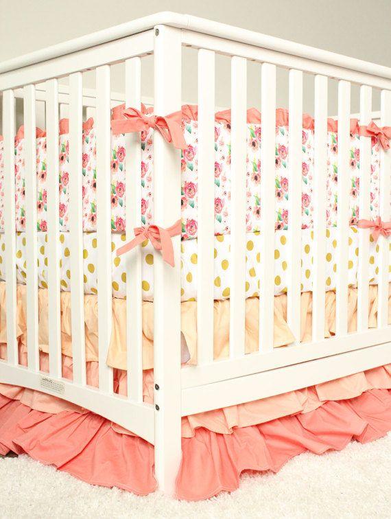 Baby Girl Peach Crib Bedding Set Floral Nursery Bedding Peach