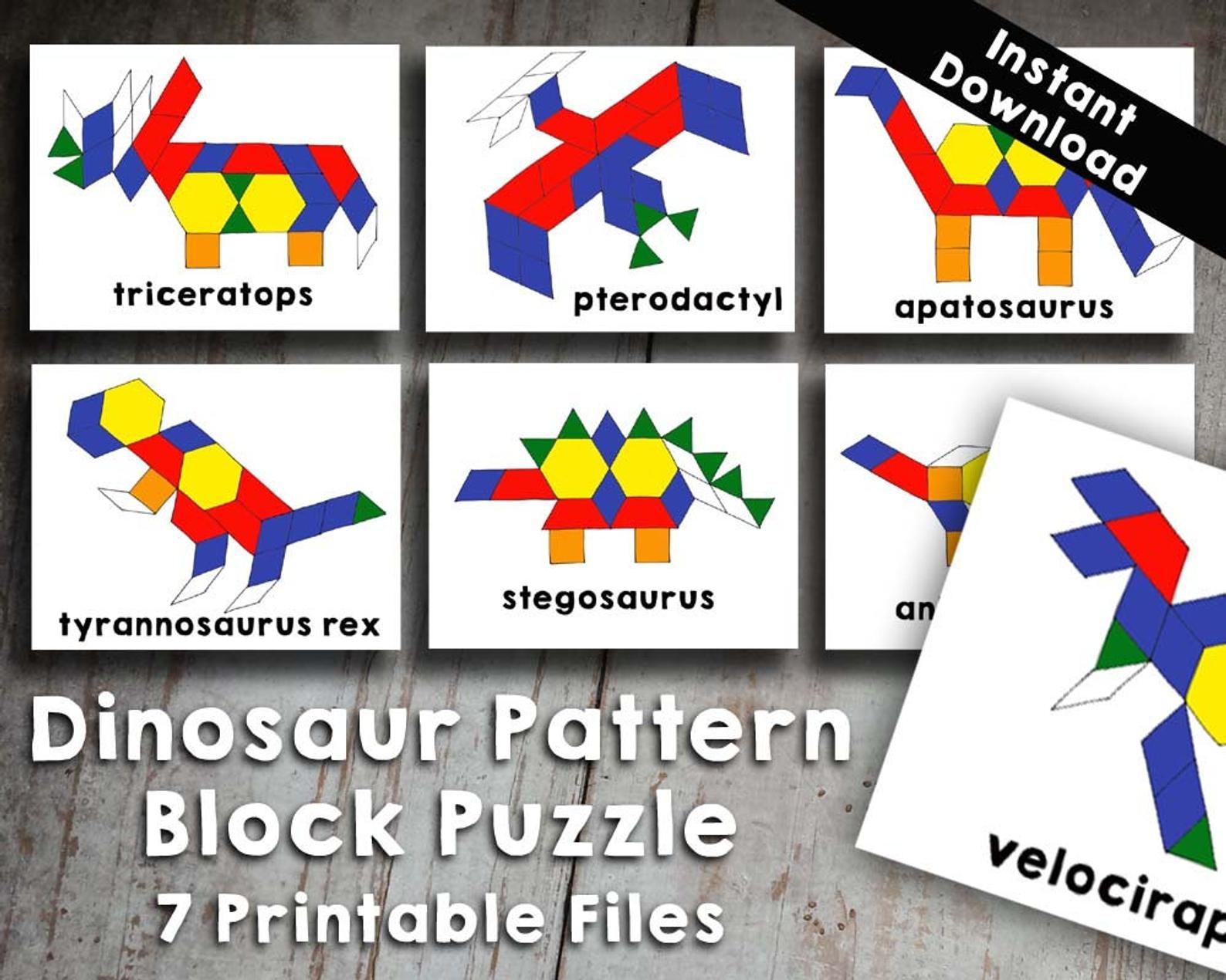 7 Dinosaur Pattern Block Tangram Puzzles Printable Digital
