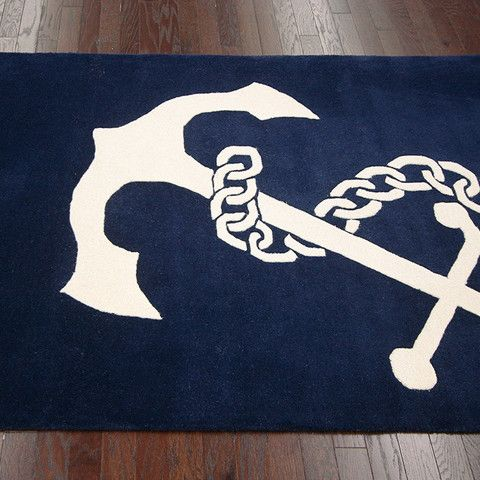 Blue And White Boat Anchor Bath Mat Nautical Mats Perfect For A