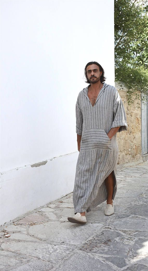 a7797424cf This unique men s kaftan is made of cool and light pure linen. This pure  linen is pre washed it has a relaxed texture and a beautiful drape.