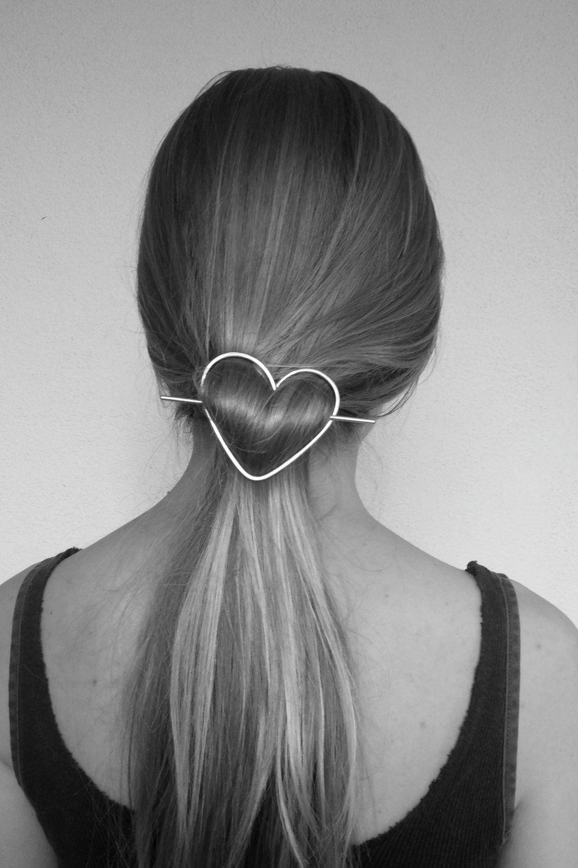 Heart hair barrette brass hair accessories rustic by Kapelika