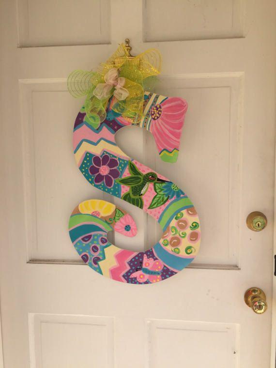Large Initial S Hummingbird Door Sign Colorful Flowers